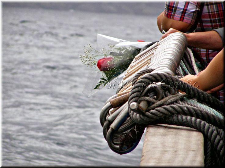 Ofrenda Flora, desde el barco al mar. Fotos Con Cariño: Fiestas en honor a la Virgen del Carmen en Cariño - Ortegal - A Coruña. 15 y 16 de Julio de 2013.