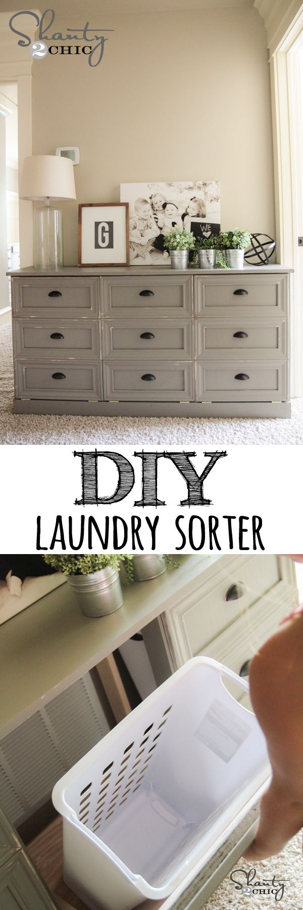 Learn how to build a dresser with a pull-out laundry sorter! FREE plans and tutorial at Shanty-2-Chic.com