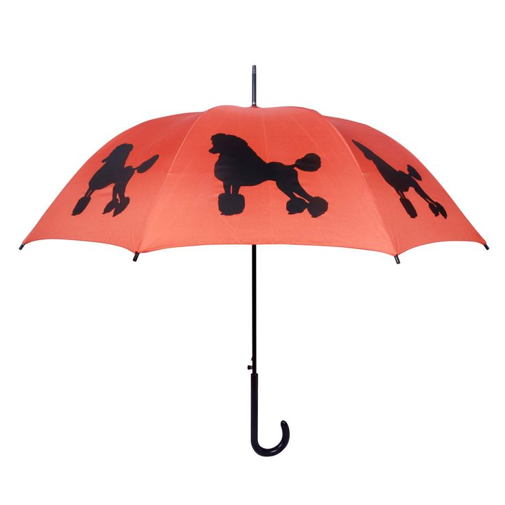 "- A beautiful black Poodle on an orange canopy - Very high quality walking stick style rain umbrella - Orange/Black - 34.5"" long, 40"" wide canopy when open - 190T Pongee polyester canopy - Fiberglass"