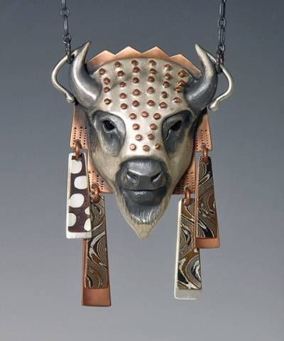 handcrafted animal totem jewelry, buffalo jewelry, bison totem by Brooke Stone, Eugene, Oregon