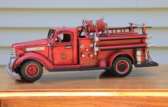 vintage fire truck toy metal great  play  home decor fireman fire fighters