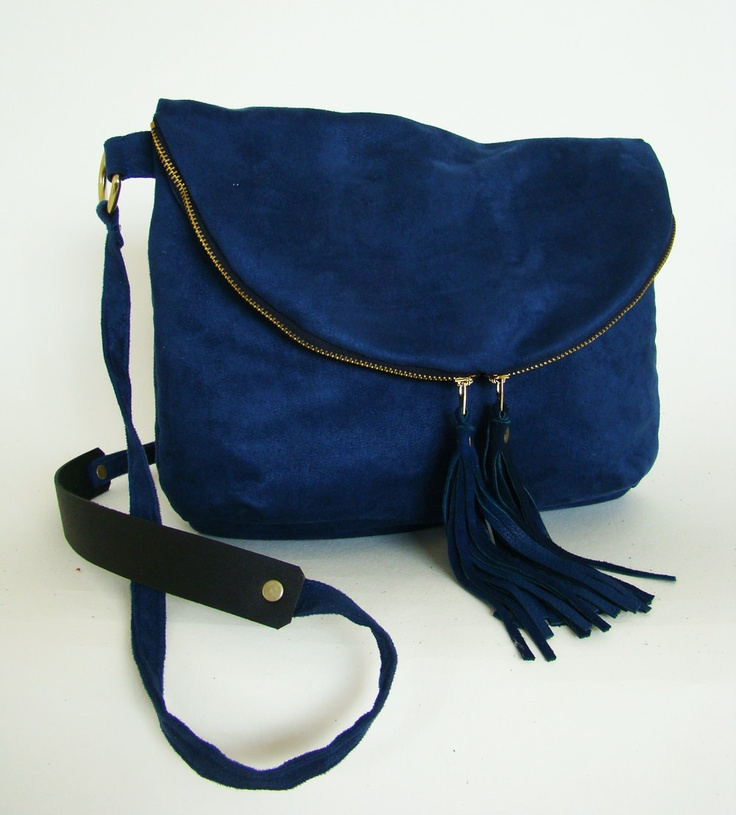 Foldover Day Traveler Bag in cobalt blue, fold over cross body bag in vegan suede with leather tassels, ready to ship. $135.00, via Etsy.