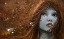 GÖZYAŞLARI, Sonbahar, Sonbahar, güzellik, fantezi, kadın, kız, saç, HD, yaprak, yalnız, mevsim, gözyaşı, kadın