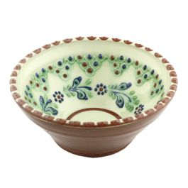 "The potter craftsmen enriched this bowl through ivory white paint and vegetal patterns combined with those shapes as a peacock fan in shades of cobalt blue, green and brown. It is handmade from glazed ceramic, and you can find it in the ""Traditional Bledea ceramic"" category.Because each product is hand made and crafted, the coloring, the model, the weight and even the shape can differ, these aspects giving it a plus of uniqueness."