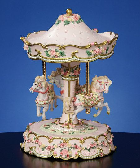 Hearts & Roses Three-Horse Carousel Musical Figurine