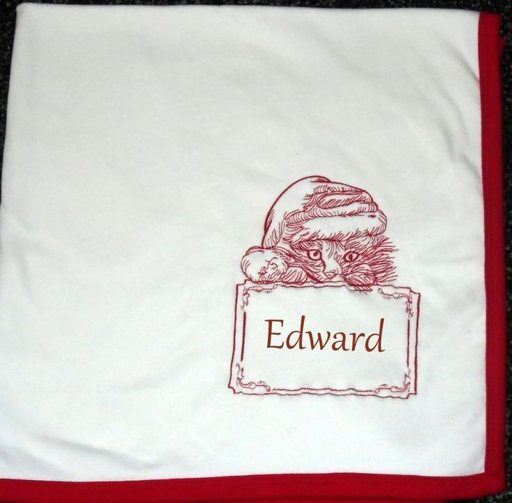Personalised Baby Blanket 100% cotton White Red trim, Xmas Kitty, baby gift xmas #Stitchmajik