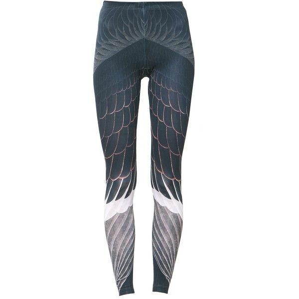 Vulture Leggings ($58) ❤ liked on Polyvore featuring pants, leggings, blue trousers, blue leggings, legging pants and blue pants