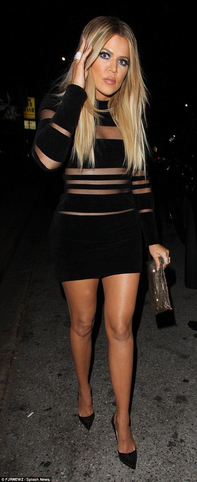 Dressed to impress: On Sunday Khloe wore a mesh and bandage Balmain number as she hit her sister Kylie's 18th birthday soirees