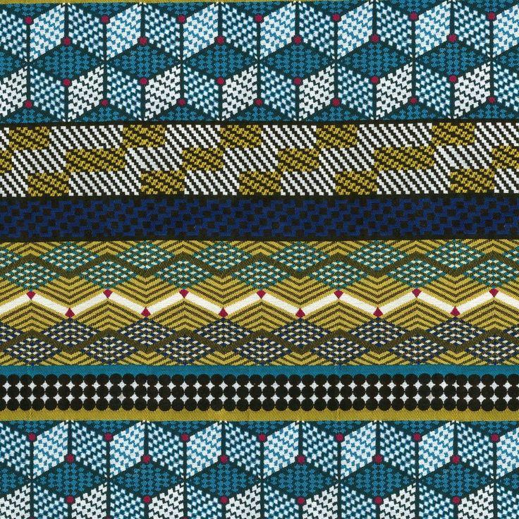 Tissu jacquard africain bleu Kinshasa - Mondial Tissus