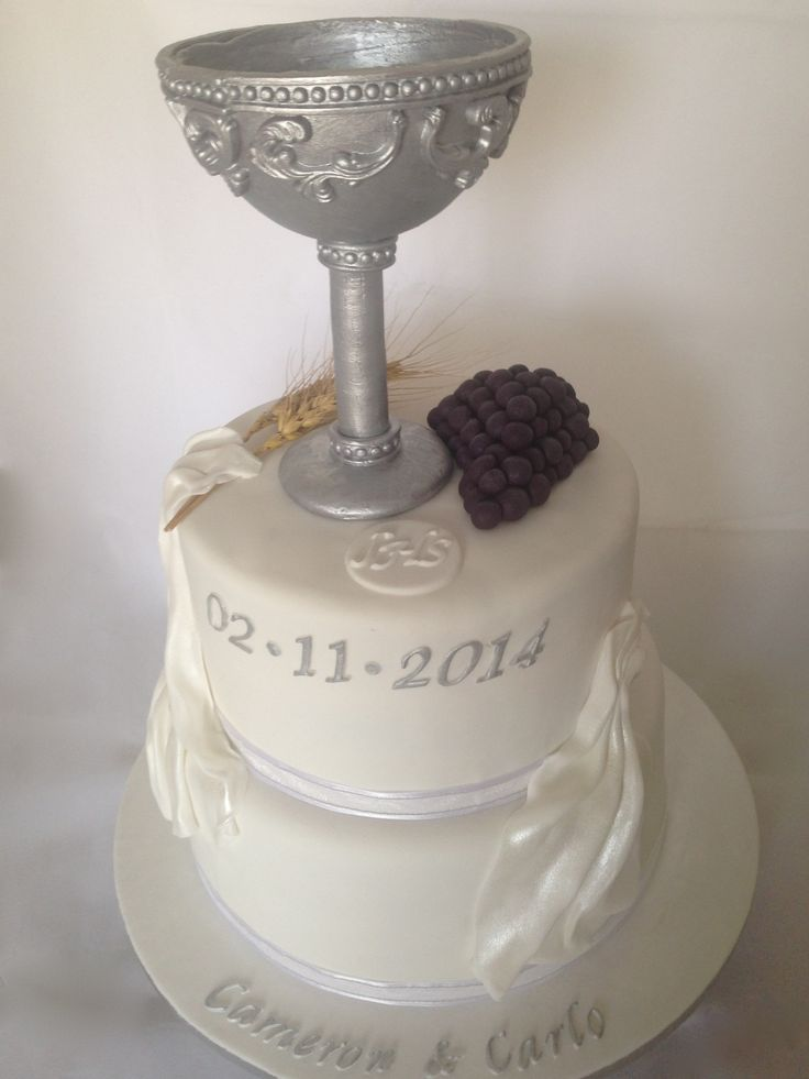 1st Holy Communion cake with Chalice, grapes, draping, wheat