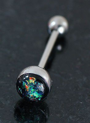 14g Dark Green Glitter 316L Surgical Steel Tongue Ring $5.99