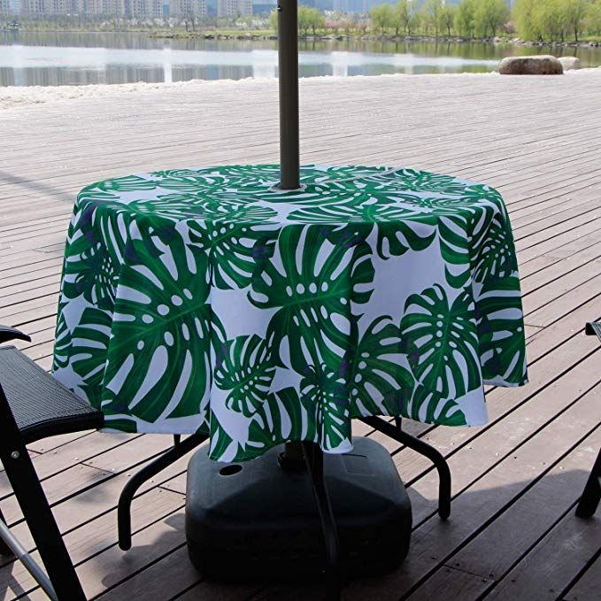 Lamberia Patio Outdoor Umbrella Tablecloth With Zipper And