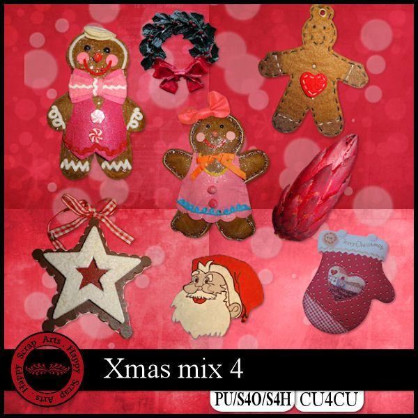 Xmas Mix 4 kit CU4CU by Happy Scrap Art