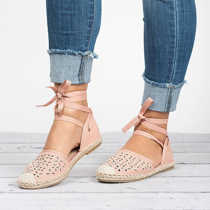 Lace Up Espadrilles Flats
