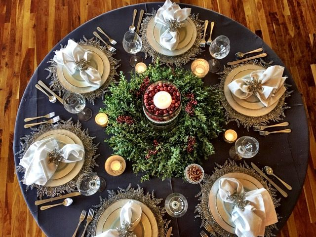 Cranberry Celebrations | Rent NOAH'S Linens for your upcoming holiday parties and events! | Charcoal Polyester Table Linen | www.NOAHSLinens.com