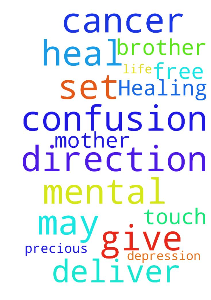 Healing -  Precious Lord, please touch and heal my mother; please set her free from cancer. May you deliver my brother from depression and mental confusion, and give him direction in his life. Amen.  Posted at: https://prayerrequest.com/t/xHd #pray #prayer #request #prayerrequest