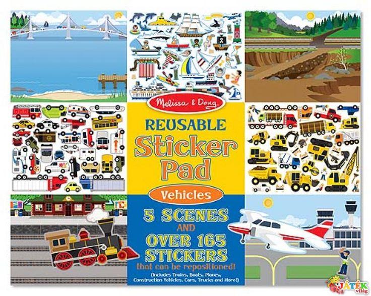 Újraragasztható matricás könyv, Járműves (Melissa&Doug, kreatív  játék, 3-8 év)