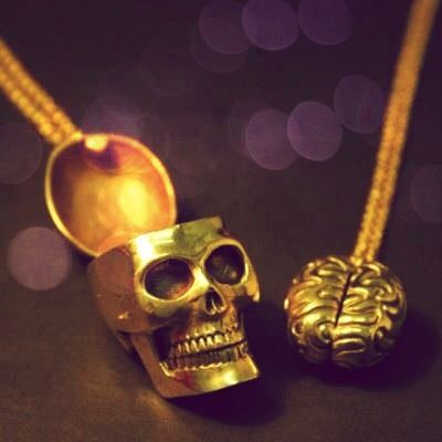 Skull and Brain Necklace Set, $137 | 24 Matching Jewelry Pieces For You And The One You Love