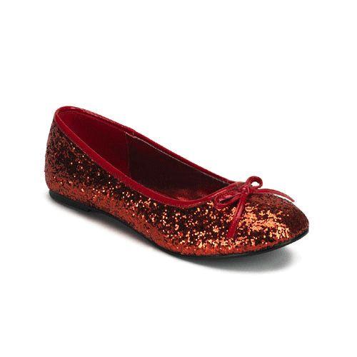 Rode ballerina schoenen met glitters. Ballerina schoenen in de kleur rood voorzien van glitters met een strikje op de neus.
