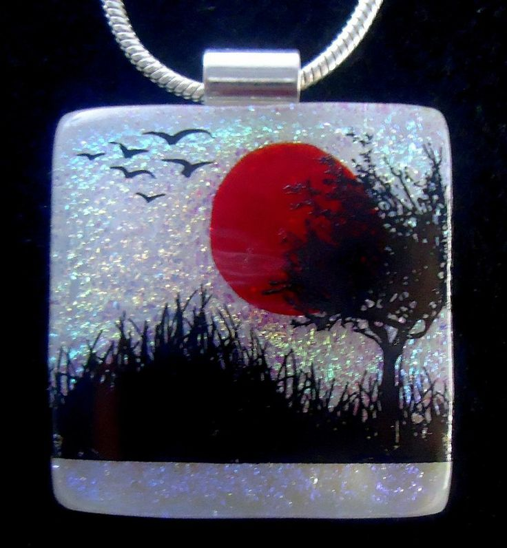 Dichroic Fused Glass Tree Image Pendant ~ Handmade Jewelry by Firefly Glass Art