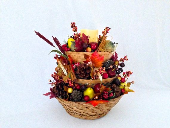 Fall Harvest Basket Table Centerpiece by ThePetalHouse on Etsy
