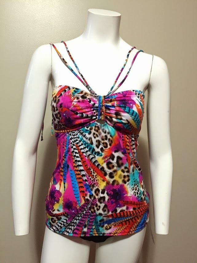 NWT Kenneth Cole Reaction Feather Floral Animal Print Tankini Top Size S #KennethCole #TankiniTop