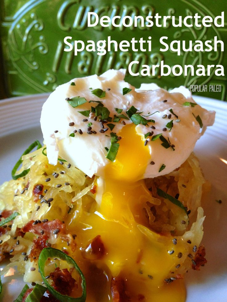 Deconstructed Spaghetti Squash Carbonara... Paleo Style!..okay so I love Carbonara, but the whole Paleo thing? whatever..it says no parm...but that is crazy...it is not Carbonara without it..so definitely parm!!