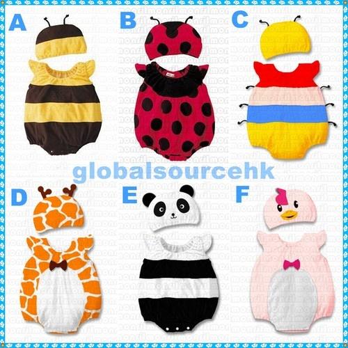 Baby Bumble Bee/Ladybird/Caterpillar/Giraffe/Panda/Chicken Costume Romper+Hat