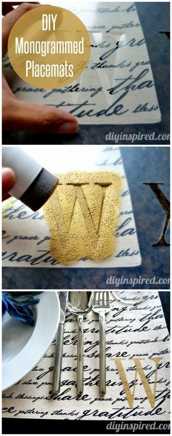 DIY Monogrammed Stenciled Placemats - DIY Inspired