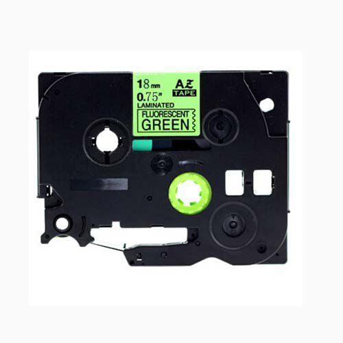 "Brother TZe-D41 P-Touch Label Tape, 18mm (0.75"") Fluorescent Black on Green, Compatible"