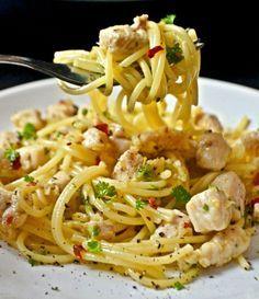 fokhagymas csirkes spagetti