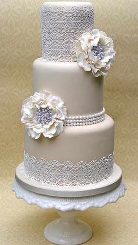 Sugar Lace Wedding cake just add some blue and yellow