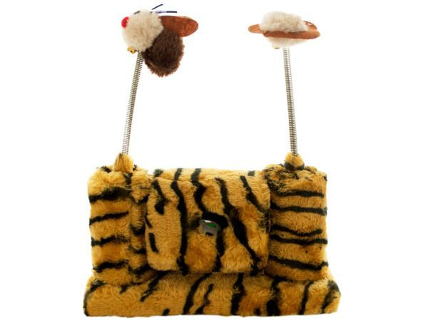 """Faux Tiger Fur Cat Playset with Spring Toys, 4 - Keep your cat busy for hours with this unique Faux Tiger Fur Cat Playset with Spring Toys featuring a faux fur covered play station with two cylinders that hold spring toys and a spinning cylinder in the middle with two round window holes and a bell ball inside. Measures approximately 9.5"""" x 5.75"""" with 6"""" spring toys that go on top. Comes packaged in a poly bag.-Colors: black,brown,silver,beige. Material: metal,plastic,synthetic,wood. Weight…"""