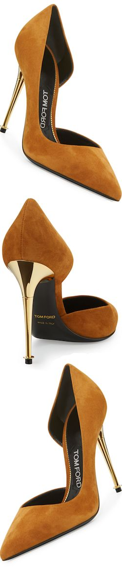 TOM FORD Golden Stack Half-d'Orsay Pump, Cognac