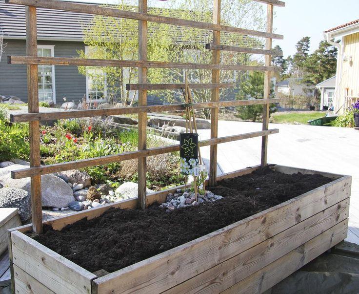 Så här bygger du en fin och praktisk planteringslåda av trallvirke med en hög spaljé av ribbor. Sätt på hjul för att den ska gå lätt att flytta runt efter behov.