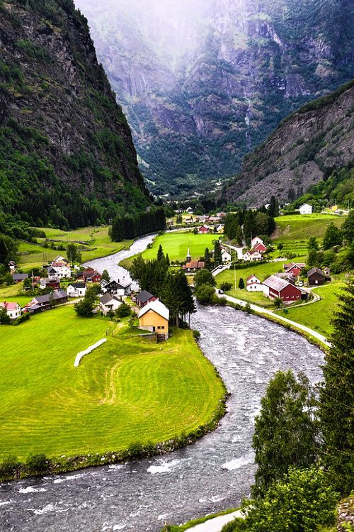 Flam, #Norway, at head of the #Aurlandsfjord, a tributary of the 204 kilometres long and up to 1308 metres deep Sognefjord. Description from pinterest.com. I searched for this on bing.com/images