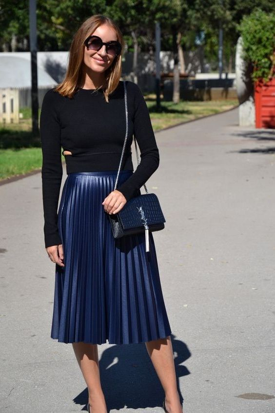CLICK   BUY  ) Navy blue metallic pleated elastic high waist summer skirt  metalic midi length navy blue skirt outfit black blouse outfit wear to work  outfit ...