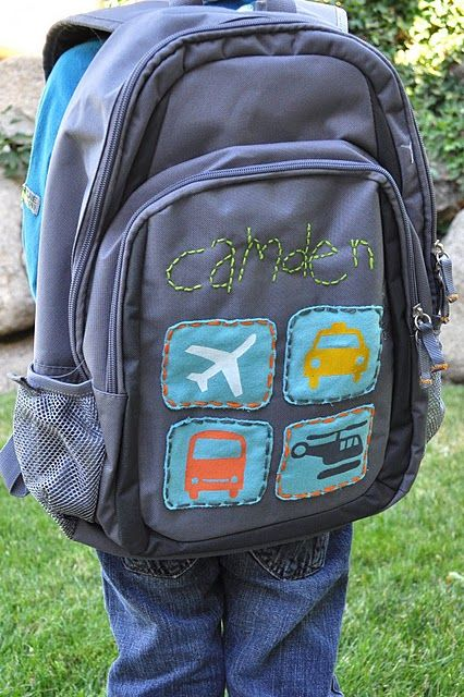 Cute way to personalize kids bookbags for school (so they don't have a boring plain bookbag, but we don't have to give in to the dumb character bookbags!)