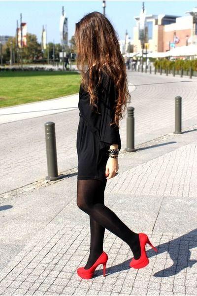 Black dress + black tights + red heels | Little Black Dress | Pinterest | Black tights Black ...