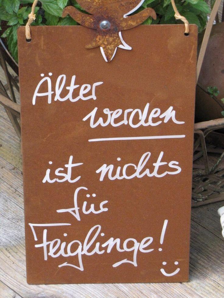 """Edelrost Schild mit Blatt """"Feigling"""""""