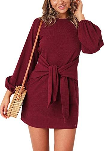 441fcbb8f44a ECOWISH Womens Dresses Casual Long Lantern Sleeve Tie Front Crew Neck  Bodycon Mini Dress.Feature