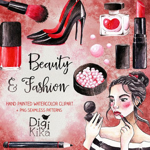 Beauty Clipart Hand Painted Watercolor Make Up Clip Art Cosmetic Graphics