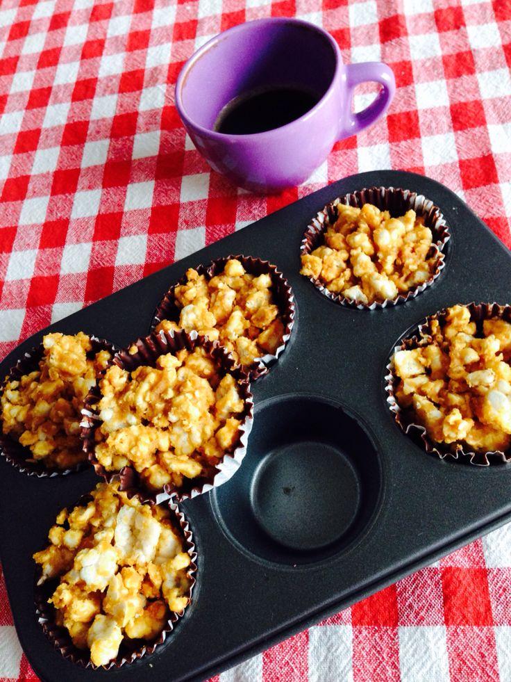 Caramel, crispy rice peanutbutter treats!