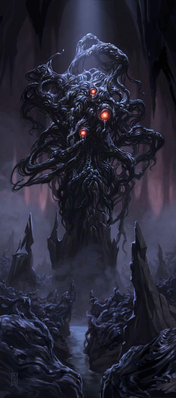 Buscamos las muerte de nuestras almas  es por eso que escuchamos  los seres sin nombre envueltos en la oscuridad para confundir la antigua sabiduría de los grandes antiguos presenciar los terribles manjares que nos tienen preparados las bestias del infierno. Invocamos Shoggoth señor las abominaciones infernales sediento de sangre y hambriento de almas mortales.