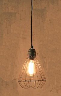 """Hanging Wire Pendant Lamp  with flexible flared base  SALE  Turn any room into a rural retreat with this Hanging Wire Pendant Lamp. The wire base is flexible and can be altered to flare out as well. The pendant lamp comes with a metal ceiling cap and a six foot cord with a plug that can be removed for professional hard wiring. Light bulb not included.12""""D x 11.5""""H    Reg. $64.95"""