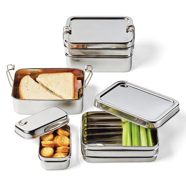 ECO Lunchbox. This 3-piece set includes: upper food container, lower food container plus a small nesting snack container. The snack container, which is called the ECOlunchpod, can be packed nesting within the top compartment or separately.