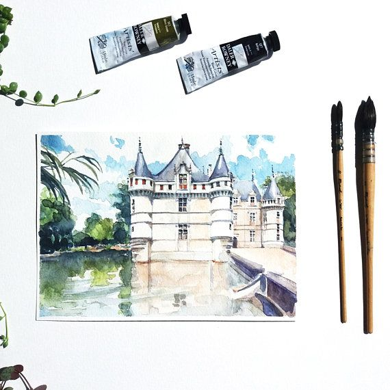 Aquarelle Originale Chateau Azay Le Rideau Illustration Chateau