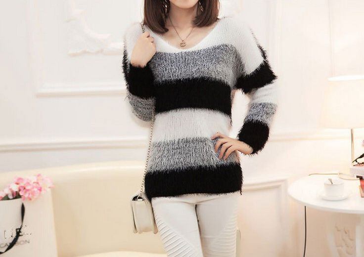 2016 Autumn Winter Womens Fashion Striped Pullover Casual Knitwear Plus Size Jumper Tops casaco feminino Mohair Knitted Sweaters