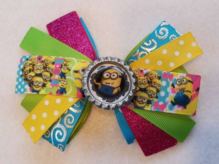 Minion Character Hair Bow (2) by HandGCrafts on Etsy