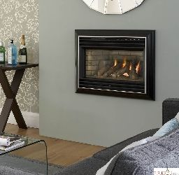 Valor Homeflame Eminece hole in the wall gas fire has an impressive heat output combined with high efficiency and distinctive bar design compliments the soft curves of the fascia  to create a contemporary appearance.